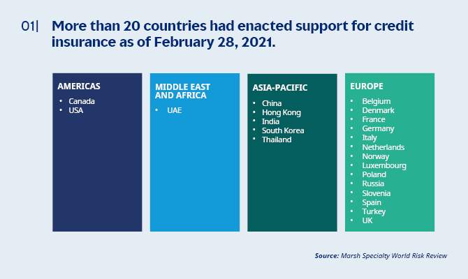 More than several countries had enacted suport for credit insurance as of February 28, 2021