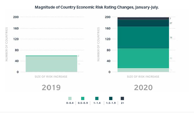 The number and magnitude of economic risk changes in the first half of 2020 far exceeded those in the first half of 2019.